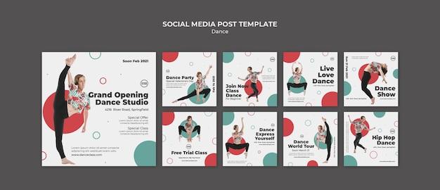 Publicaciones en redes sociales de clases de baile