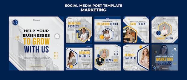 Publicaciones en redes sociales comerciales de marketing