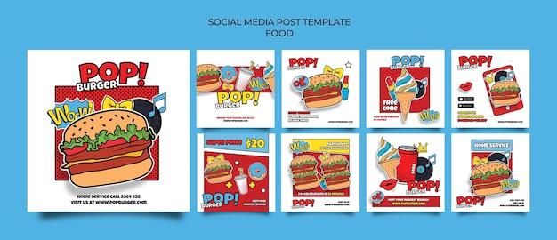 Publicaciones en redes sociales de comida pop art