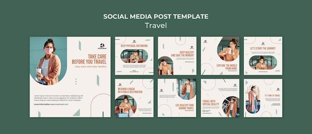 Publicaciones de redes sociales de concepto de viaje
