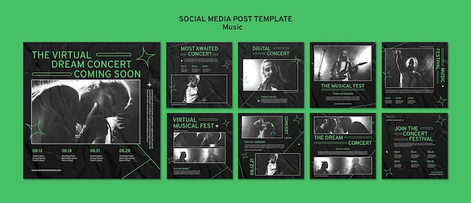 Publicaciones en redes sociales de conciertos virtuales