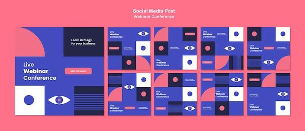 Publicaciones en redes sociales de la conferencia webinar