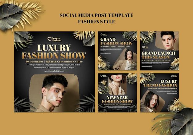 Publicaciones en redes sociales de desfiles de moda