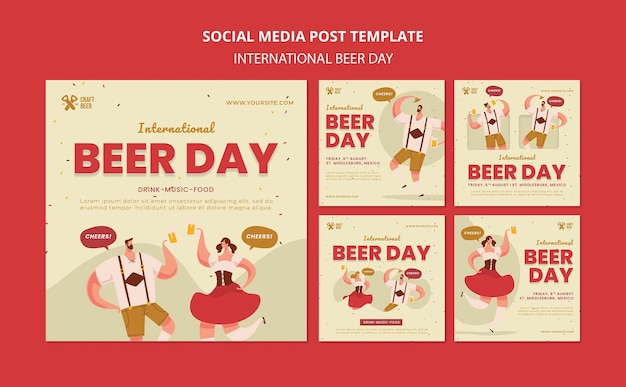 Publicaciones en redes sociales del día internacional de la cerveza