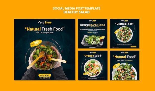 Publicaciones en redes sociales de ensalada saludable