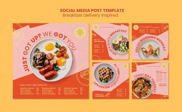 Publicaciones en redes sociales de entrega de desayuno