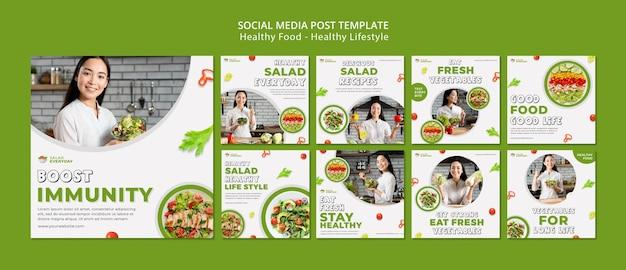 Publicaciones en redes sociales de estilo de vida saludable