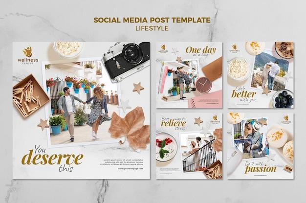 Publicaciones en redes sociales de estilo de vida de vacaciones