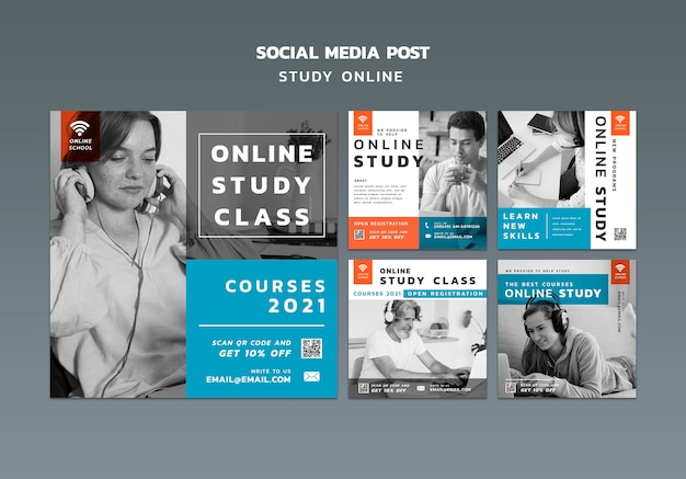 Publicaciones de redes sociales de estudio en línea