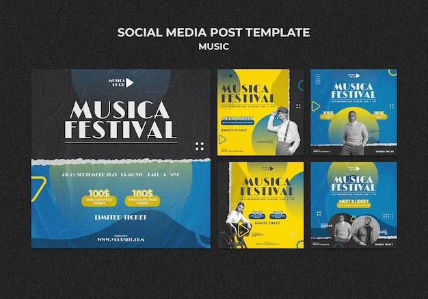 Publicaciones en redes sociales de festivales de música