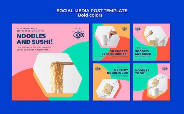 Publicaciones en redes sociales de fideos de colores llamativos