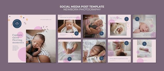 Publicaciones en redes sociales de fotografía de recién nacidos