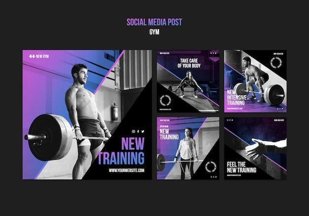 Publicaciones en redes sociales de gimnasio
