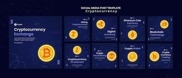Publicaciones en redes sociales de intercambio de criptomonedas