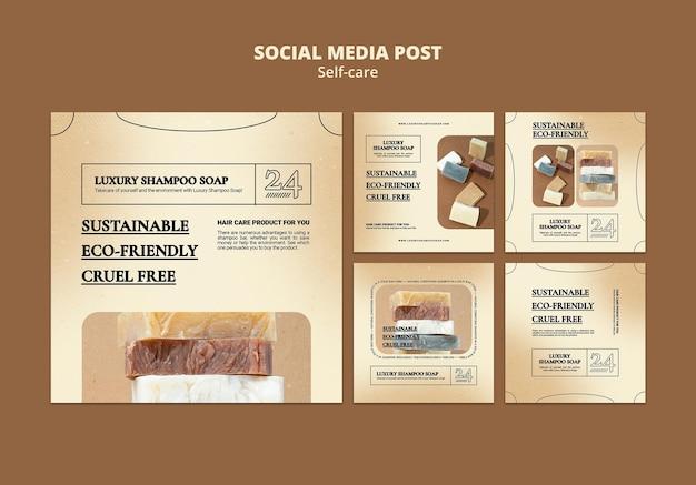 Publicaciones de redes sociales de jabón de champú