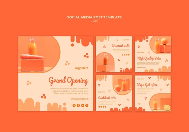 Publicaciones en redes sociales de jugo de naranja