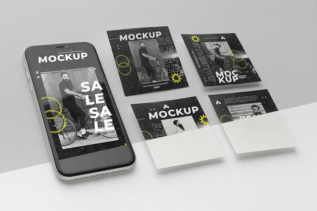 Publicaciones en redes sociales y maquetas de teléfonos inteligentes