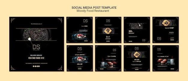 Publicaciones en redes sociales de moody food restaurant