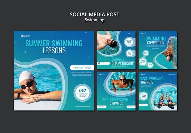 Publicaciones de redes sociales de natación con foto