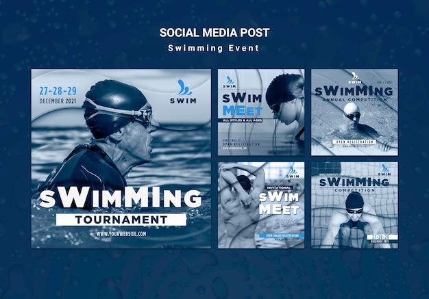 Publicaciones de redes sociales de natación