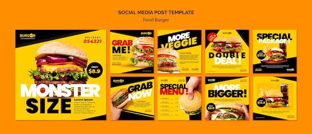 Publicaciones en redes sociales de oferta especial de hamburguesas