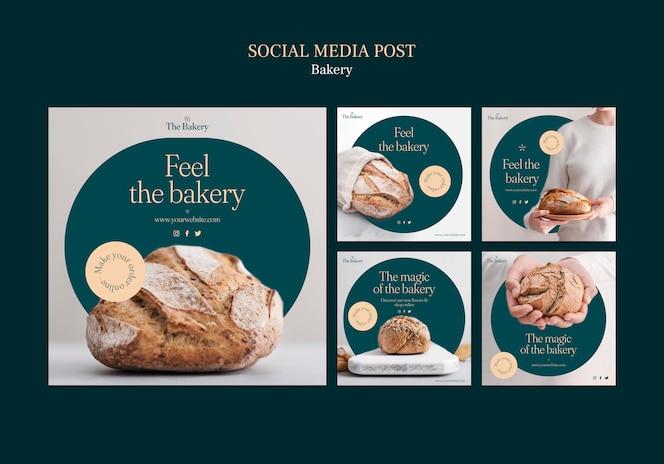 Publicaciones en redes sociales de panadería