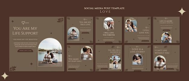 Publicaciones de redes sociales de pareja encantadora