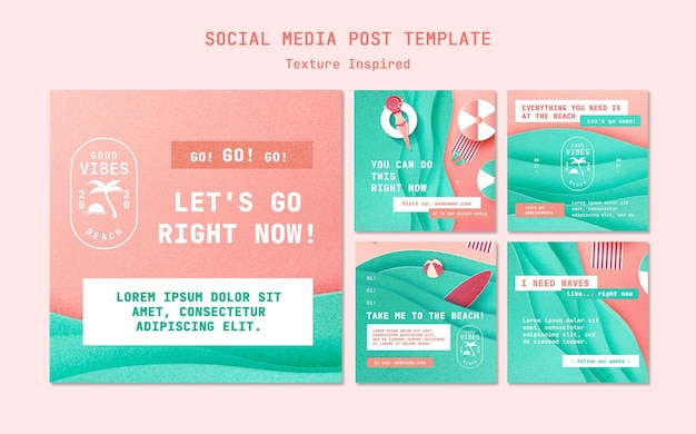 Publicaciones de redes sociales de playa con textura