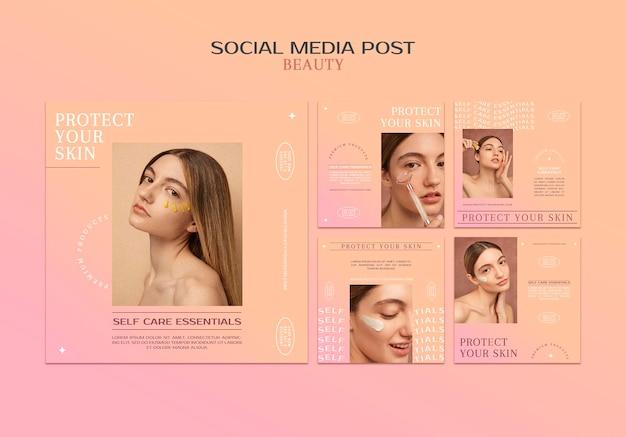 Publicaciones en redes sociales de productos para el cuidado de la piel