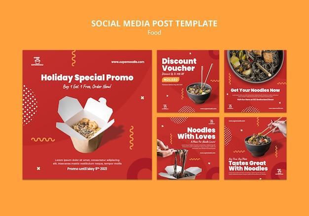 Publicaciones de redes sociales de promoción de fideos