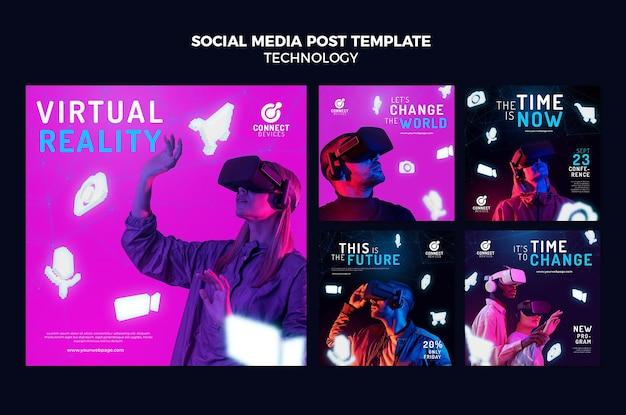 Publicaciones de redes sociales de realidad virtual futurista