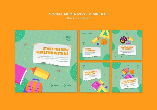 Publicaciones de redes sociales de regreso a la escuela