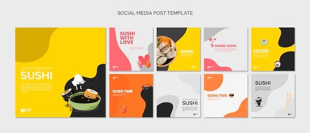 Publicaciones de redes sociales de restaurante asiático de sushi