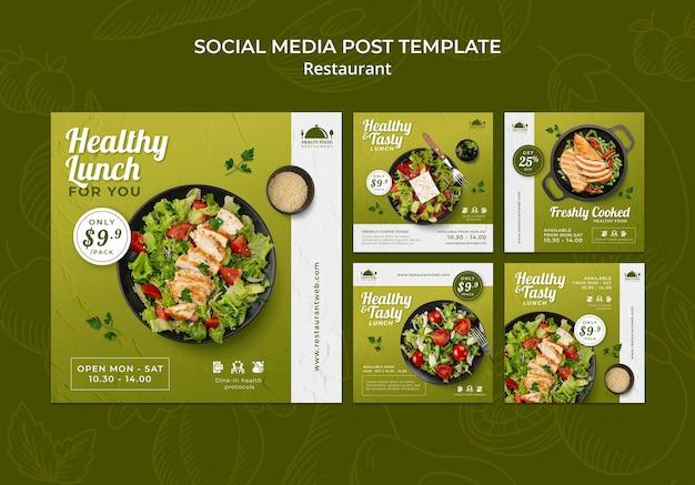 Publicaciones en redes sociales de restaurantes de comida saludable