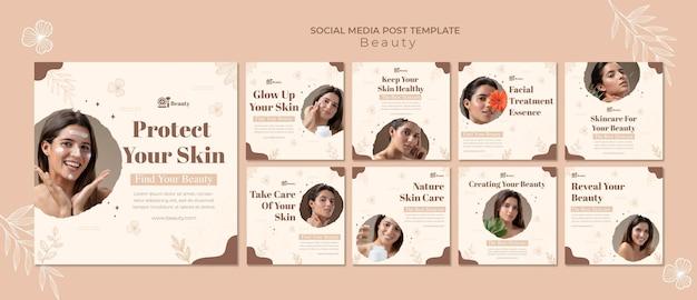 Publicaciones en redes sociales sobre el cuidado de la piel