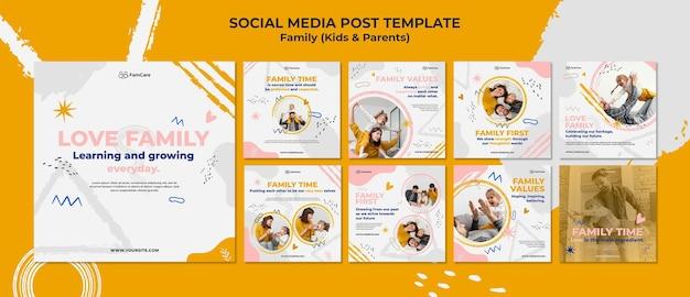 Publicaciones en redes sociales de tiempo familiar