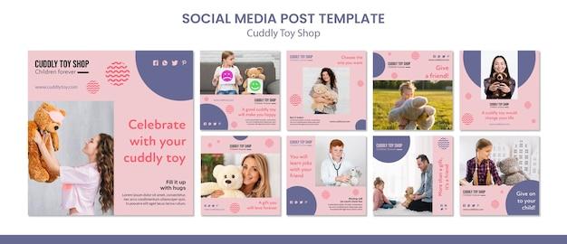 Publicaciones en redes sociales de la tienda de juguetes de peluche