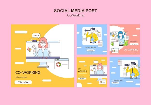 Publicaciones de redes sociales de trabajo conjunto