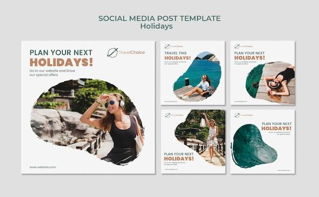 Publicaciones en redes sociales de vacaciones