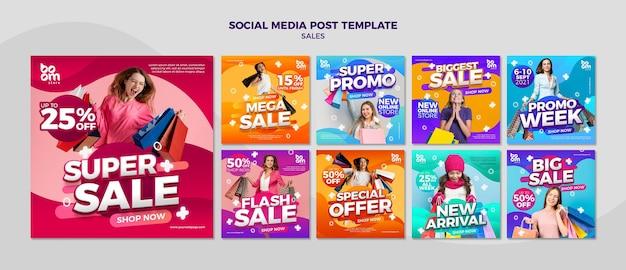 Publicaciones de redes sociales de ventas modernas