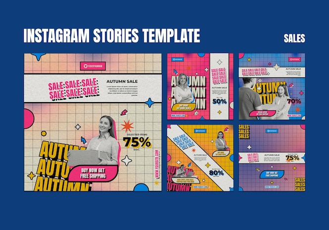 Publicaciones de redes sociales de ventas retro