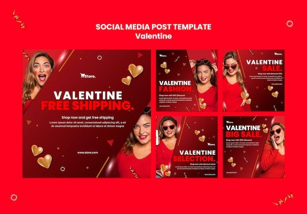 Publicaciones en redes sociales de ventas de san valentín