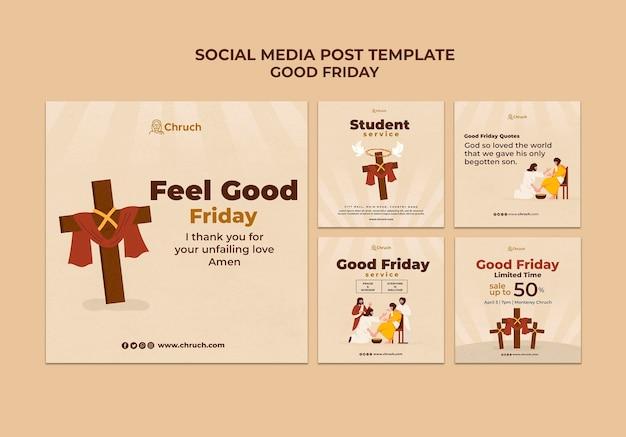 Publicaciones de redes sociales de viernes santo
