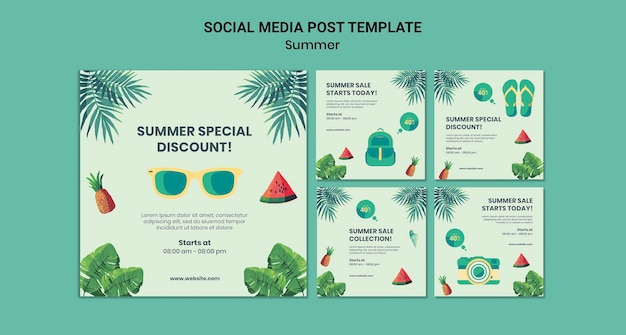 Publicaciones de verano en redes sociales
