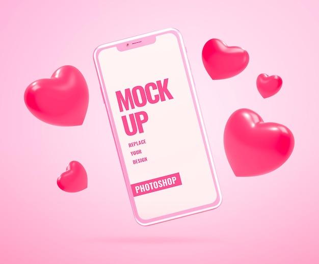 Publicidad de san valentín de maqueta de teléfono inteligente rosa