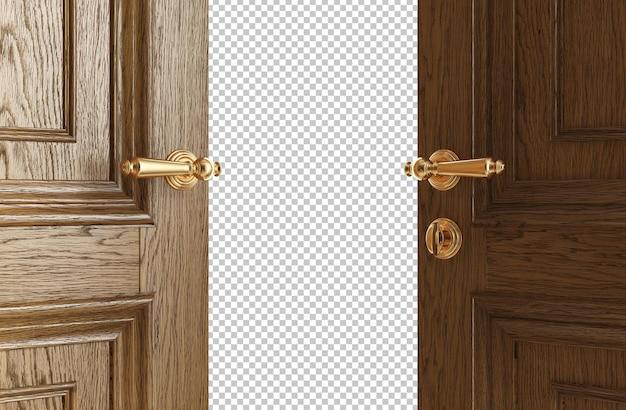 Puertas clásicas que se abren a la representación 3d aislada de la luz brillante