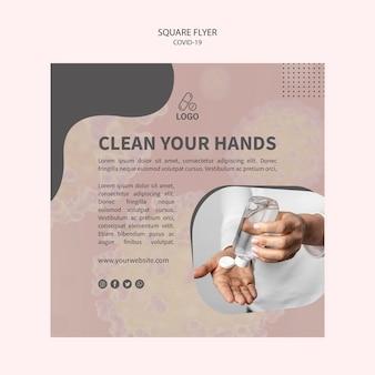 Pulisci le mani con un volantino quadrato di coronavirus