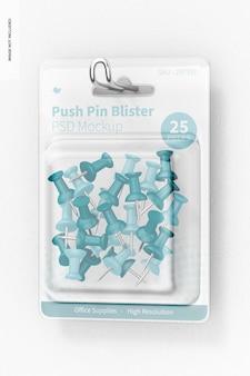 Push pin blister mockup, hangend aan de muur