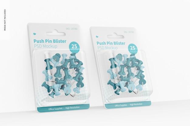 Push pin blister mockup, leunend