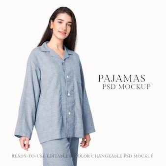 Pyjama mockup psd dames nachtkleding studio shoot